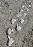 Stampe del piede delle pietre sulla spiaggia Lesvos Fotografie Stock Libere da Diritti