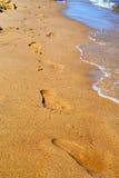 Stampe del piede in sabbia Immagini Stock