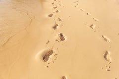 Stampe del piede sulla spiaggia delle Seychelles Fotografia Stock Libera da Diritti