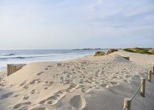 Stampe del piede sulle dune fotografie stock libere da diritti