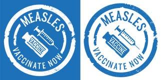 Stampe del timbro di gomma di vaccinazione di morbillo con l'icona del vaccino e della siringa illustrazione di stock