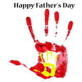 Stampe dell'acquerello del manifesto delle mani del padre e del figlio Giorno del padre felice Immagine Stock