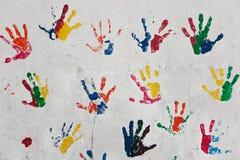 Stampe della mano dei bambini Immagine Stock