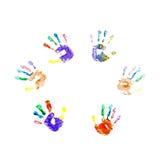 Stampe della mano della vernice della barretta Fotografia Stock