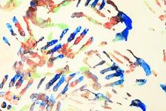 Stampe della mano di colore Fotografia Stock