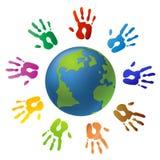 Stampe della mano e del globo Fotografie Stock Libere da Diritti