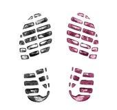 Stampe della scarpa del ` s degli uomini su bianco fotografie stock