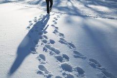 Stampe della scarpa di inverno con l'ombra della persona Immagini Stock Libere da Diritti