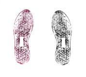 Stampe della scarpa su bianco Fotografia Stock