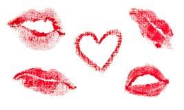 Stampe delle labbra Fotografia Stock