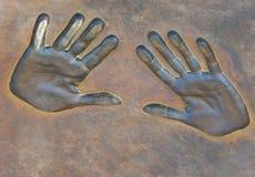 Stampe delle mani Fotografia Stock