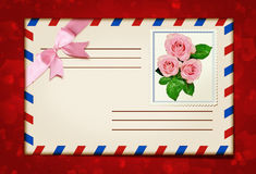 Stamped envelope and flowers Stock Image