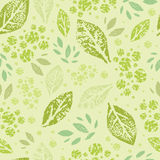 Stamped green Leaves Seamless Pattern Background Royalty Free Stock Photo