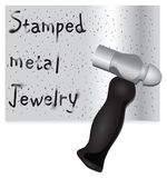 Stamped Metal and Hammer Royalty Free Stock Images