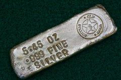 Stamped Silver Bullion Bar Stock Photos