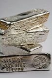 Stamped Silver Bullion Bars Stock Image