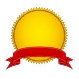 Stamper do selo do ouro com fita vermelha Fotos de Stock Royalty Free