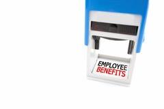 Stamper märkta anställdfördelar på vit bakgrund arkivfoton