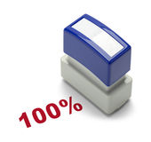 100% Stamper. One Hundred Percent Stamper Isolated on a White Background Stock Photography