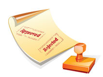 Stamper vector. Approve and reject stamp on paper,stamper vector Royalty Free Stock Photography