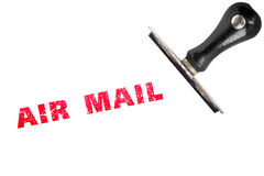 Stamper vermelho do correio aéreo do texto do carimbo de borracha do grunge Fotografia de Stock Royalty Free