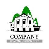 Stampi l'emblema del segno del nero di verde della costruzione di casa di campagna di logo Fotografia Stock