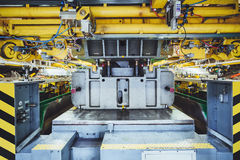 Stamping line on car manufacture. Hydraulic press on car manufacture Stock Photos