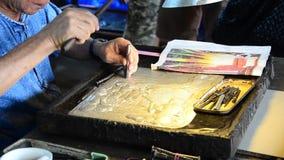 Stamping Sheet Metal Process Craft Silver Handicraft Thai Art stock video