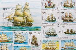 Stamps. Collectible stamps with old ships Stock Photos