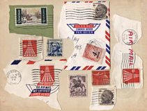 Stamps. Collection of vintage canceled stamps on a 1946 postcard. Full frame and high resolution Royalty Free Stock Photos