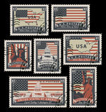 Stamps with America landmarks vector illustration