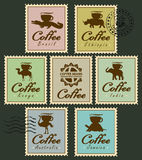 Stamps with animals from coffee cup Royalty Free Stock Image