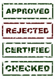 Stamps of Approved Rejected Checked Certified. Stamps imprint with the text approved, rejected, checked and certified vector illustration
