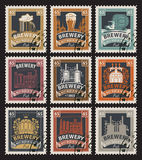 Stamps on beer and brewery. Set of postage stamps on the theme of beer and brewery in retro style Stock Photo