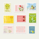 Stamps. Bright summer and spring stamps Stock Photo