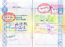 Stamps of China and Russia, permits to stay in Shanghai, Beijing Stock Photo