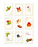 Stamps with Christmas elements Royalty Free Stock Photography