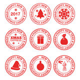 Stamps with christmas elements. Stamps with christmas tree, snowflake, gift box, bag, pat, candle and christmas ball Stock Image