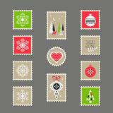 Stamps with christmas motifs. Vector illustration Stock Image