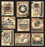 Stamps on coffee house Stock Photography