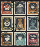 Stamps for coffee houses Royalty Free Stock Photos