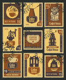 Stamps on coffee Royalty Free Stock Photo