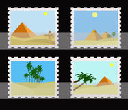 Stamps collection. Illustration of clear egypt pyramids and oasis on postage stamps in album Royalty Free Illustration