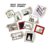 Stamps collection, Industrial theme Royalty Free Stock Images