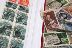 Stamps collection. And some tools Royalty Free Illustration