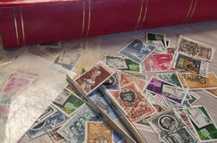 Stamps collection. And some tools Stock Photo