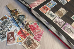 Stamps collection. And some tools Stock Illustration