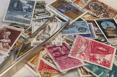 Stamps collection. And some tools Stock Photos