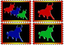 Stamps with colored toros Stock Photography