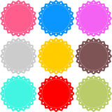 Stamp  set. Stamp colour label circle red blue yellow collection set Stock Photography